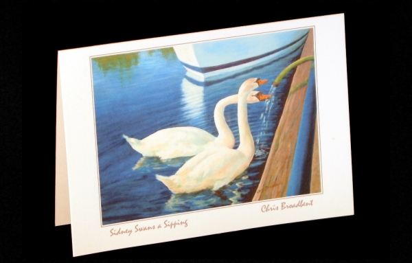 Art Card - Vancouver Island - Sidney swans a sipping
